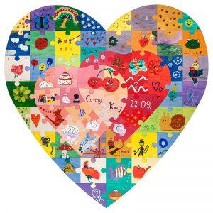 Holz-Puzzle-Herz zum bemalen